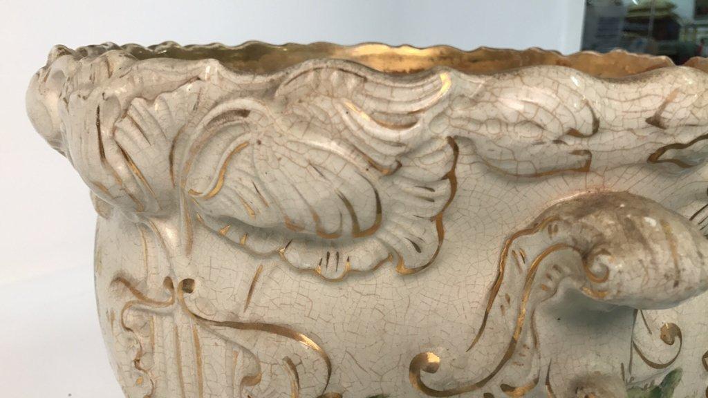 Antique Ceramic Planter Gold Leaf Trim - 8