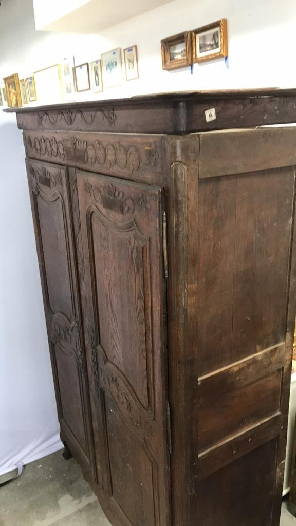 Antique Mahogany Carved Armoire - 8