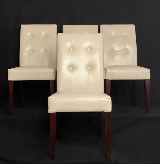 Set Four Leather Tufted Mahogany Side Chairs