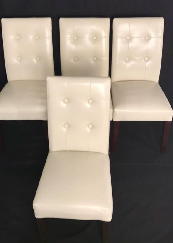 Set Four Leather Tufted Mahogany Side Chairs - 2