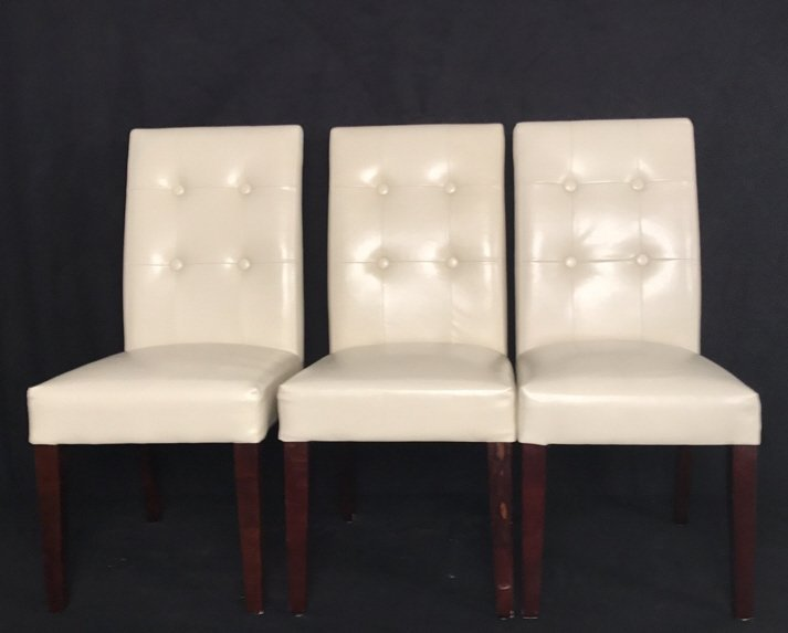 Set Four Leather Tufted Mahogany Side Chairs - 3