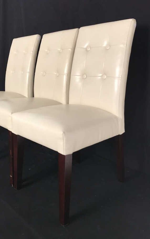 Set Four Leather Tufted Mahogany Side Chairs - 4