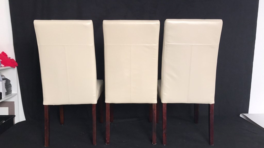 Set Four Leather Tufted Mahogany Side Chairs - 6