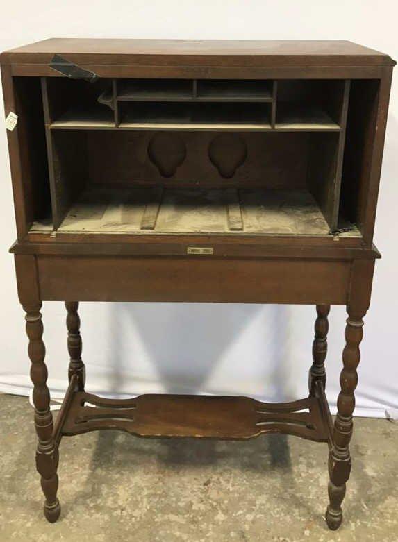 Vintage POOLEY Drop Leaf Radio Cabinet - 10
