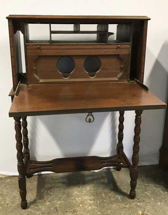 Vintage POOLEY Drop Leaf Radio Cabinet - 2
