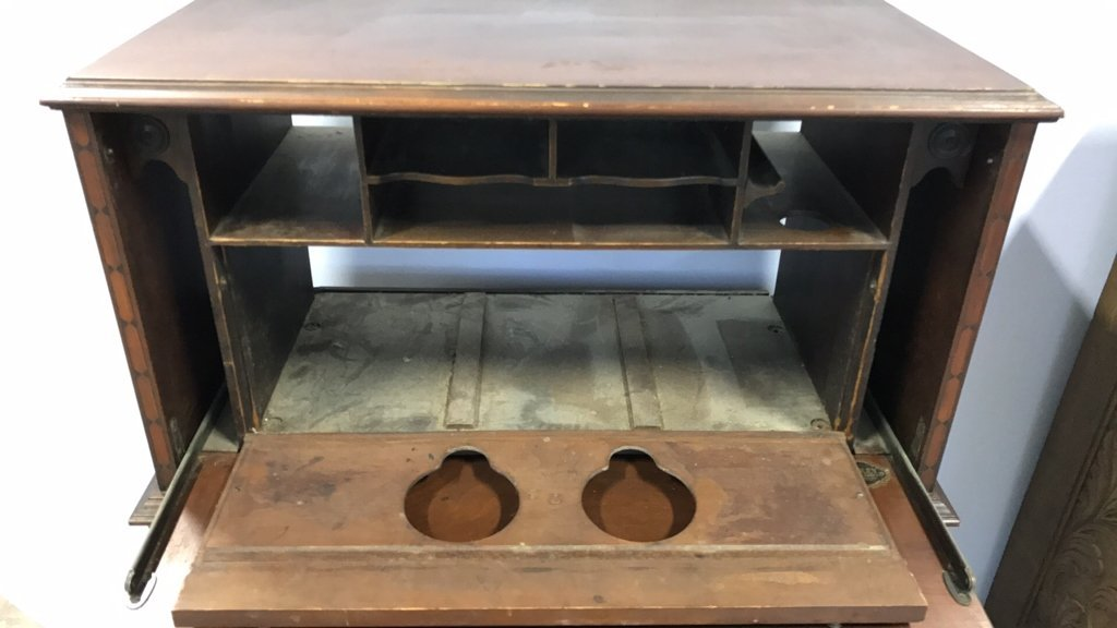 Vintage POOLEY Drop Leaf Radio Cabinet - 3