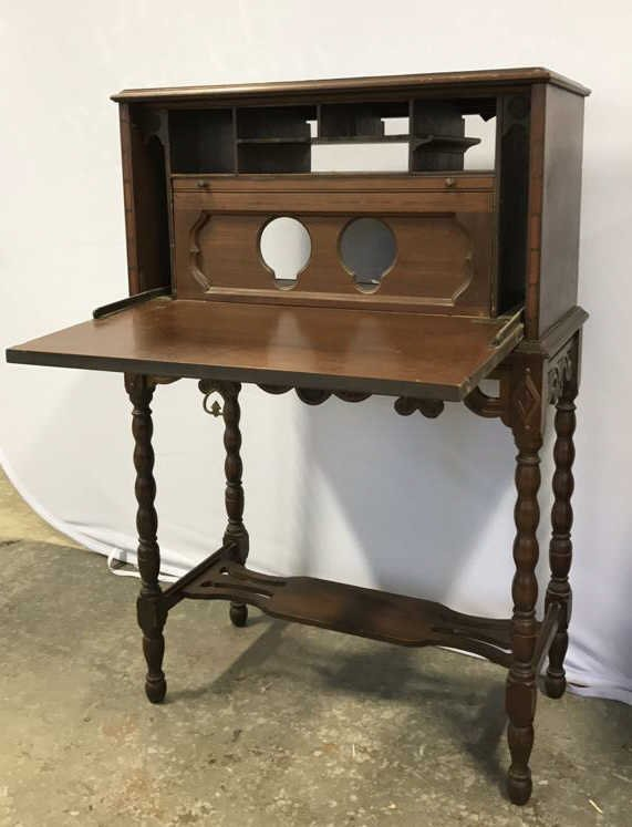 Vintage POOLEY Drop Leaf Radio Cabinet - 5