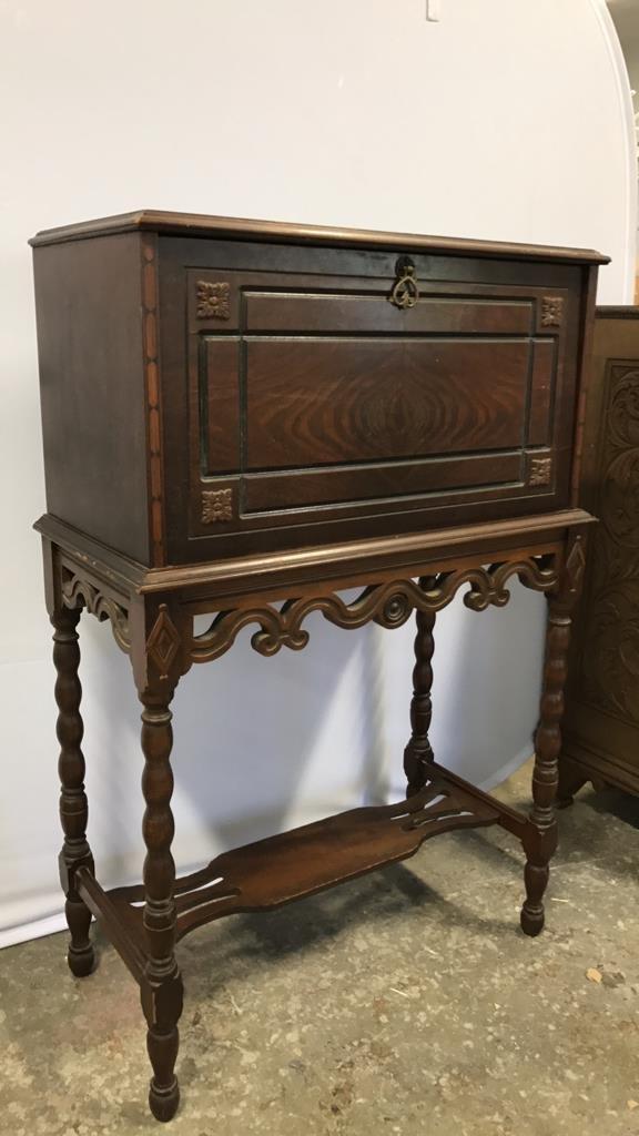 Vintage POOLEY Drop Leaf Radio Cabinet - 8
