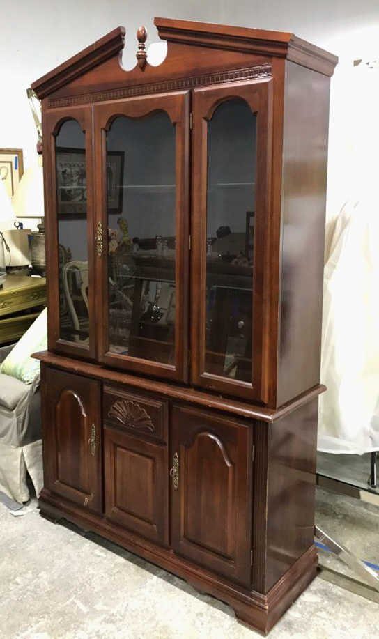 Colonial Style Cherry Wood Glass Cabinet
