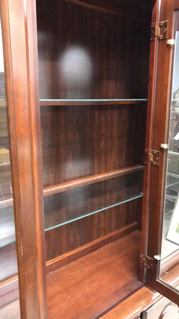 Colonial Style Cherry Wood Glass Cabinet - 2