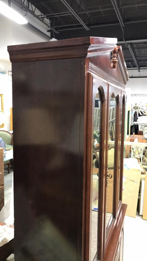 Colonial Style Cherry Wood Glass Cabinet - 3