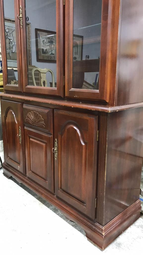 Colonial Style Cherry Wood Glass Cabinet - 5
