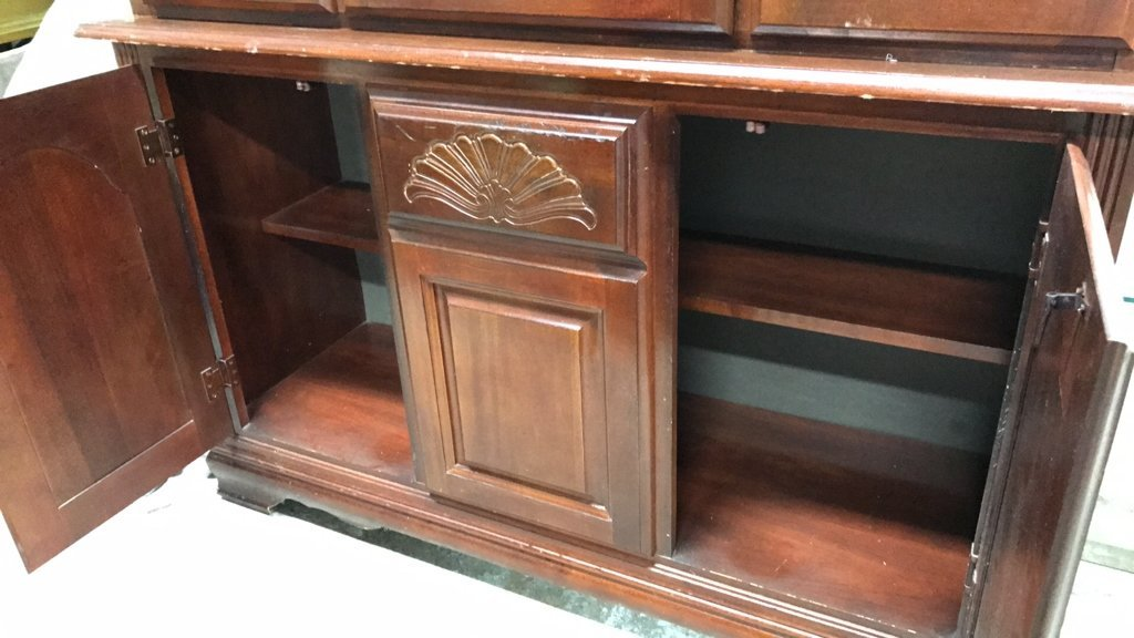 Colonial Style Cherry Wood Glass Cabinet - 6