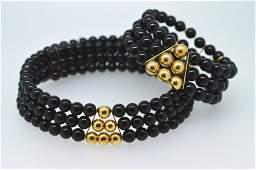 Black Onyx & 14K Gold Choker Necklace Bracelet Set