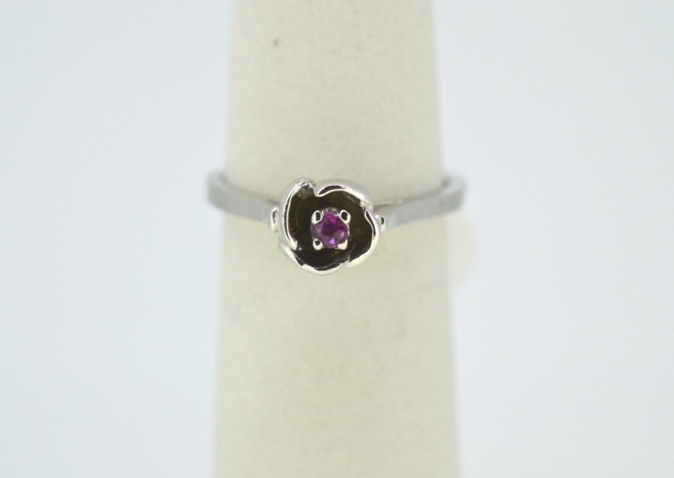 10K White Gold Ring With Ruby Stone