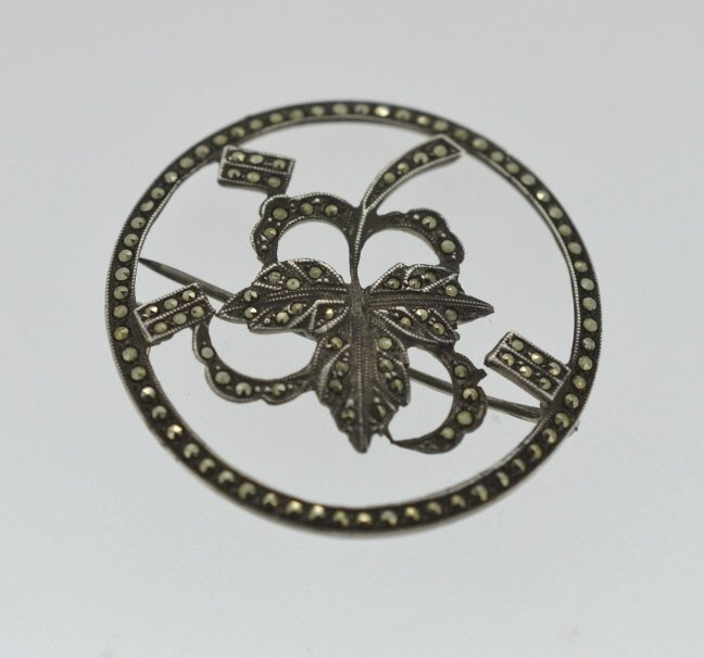 Floral Sterling & Marcasite Pin