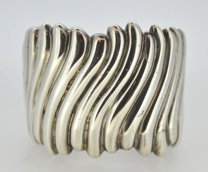 Wide Nouveau Sterling Silver Cuff