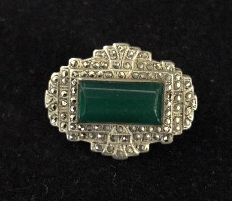 Art Deco Sterling Pin With Green Stone