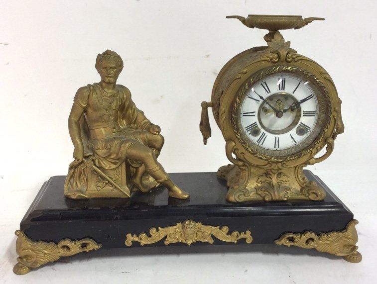 Vintage Mantel Clock On Cast Iron Base