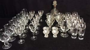 Group Lot Crystal Glass Stem Ware Hardware