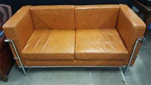 Le Corbusier Style Leather Chrome Sofa