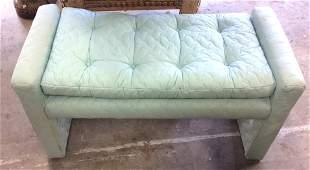 Aqua Tufted Mid Century Bench