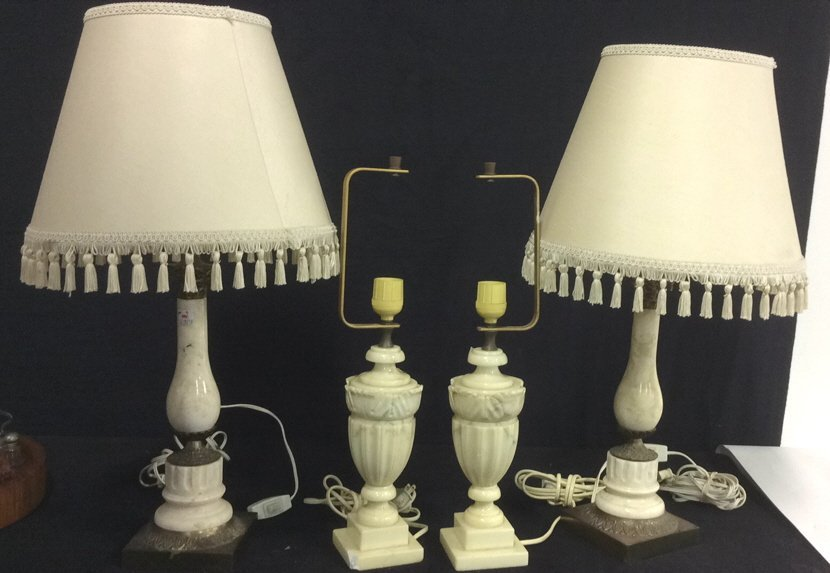 2 Pairs Alabaster & Marble Lamps
