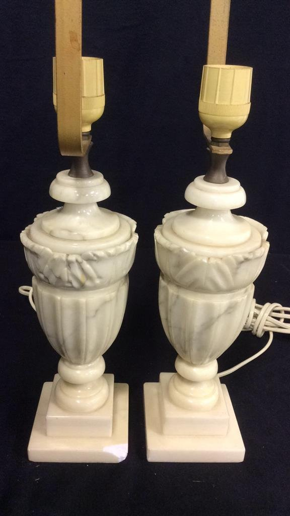 2 Pairs Alabaster & Marble Lamps - 2