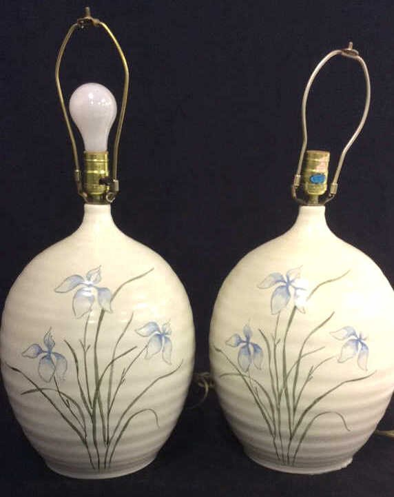 Pair Vintage Painted Asian Style Lamps