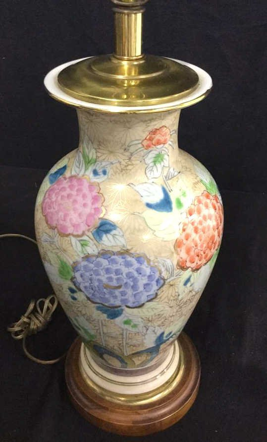 Hand Painted Asian Vase Table Lamp