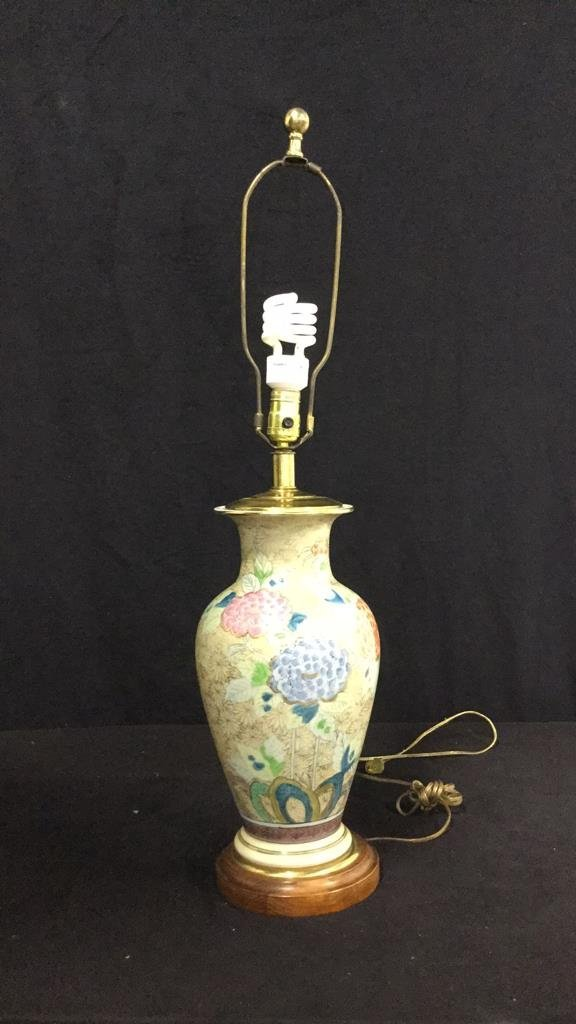 Hand Painted Asian Vase Table Lamp - 2