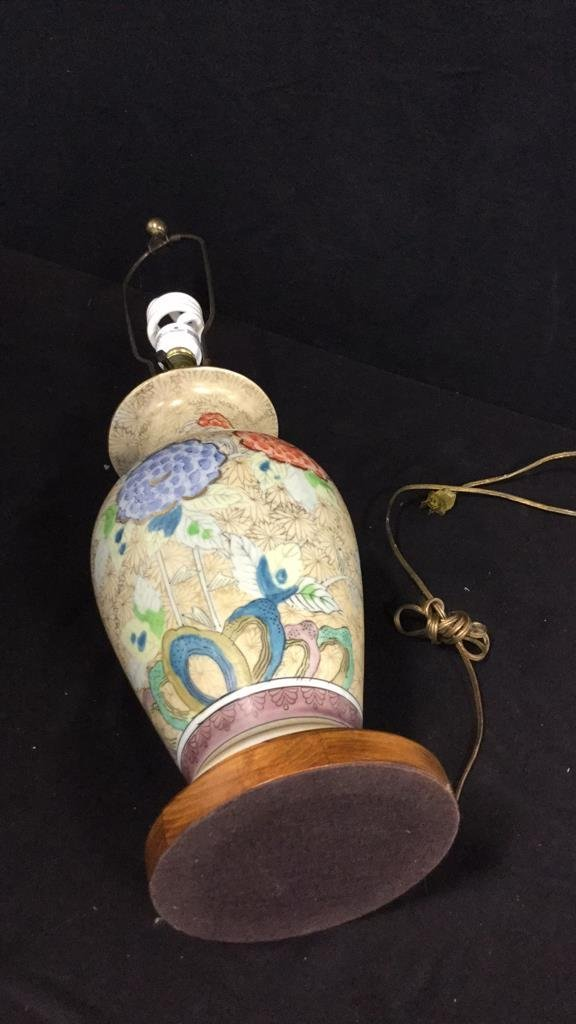 Hand Painted Asian Vase Table Lamp - 5
