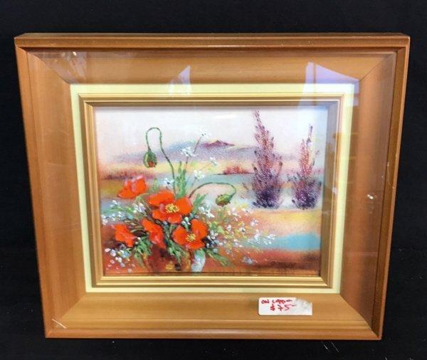 Framed Glazed Painting On Copper Framed