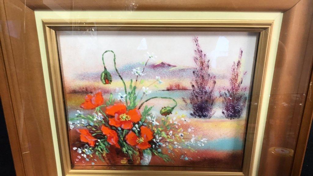 Framed Glazed Painting On Copper Framed - 2