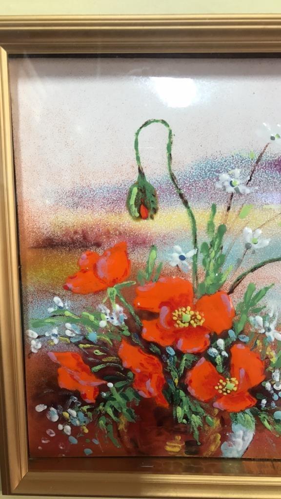 Framed Glazed Painting On Copper Framed - 4