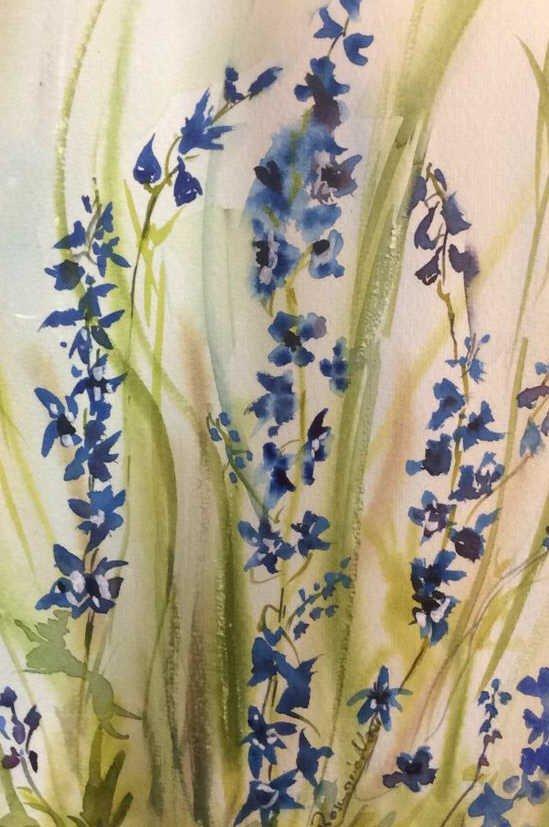 Signed Blue Green Wild Flower Artwork