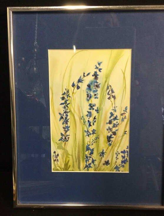 Signed Blue Green Wild Flower Artwork - 2