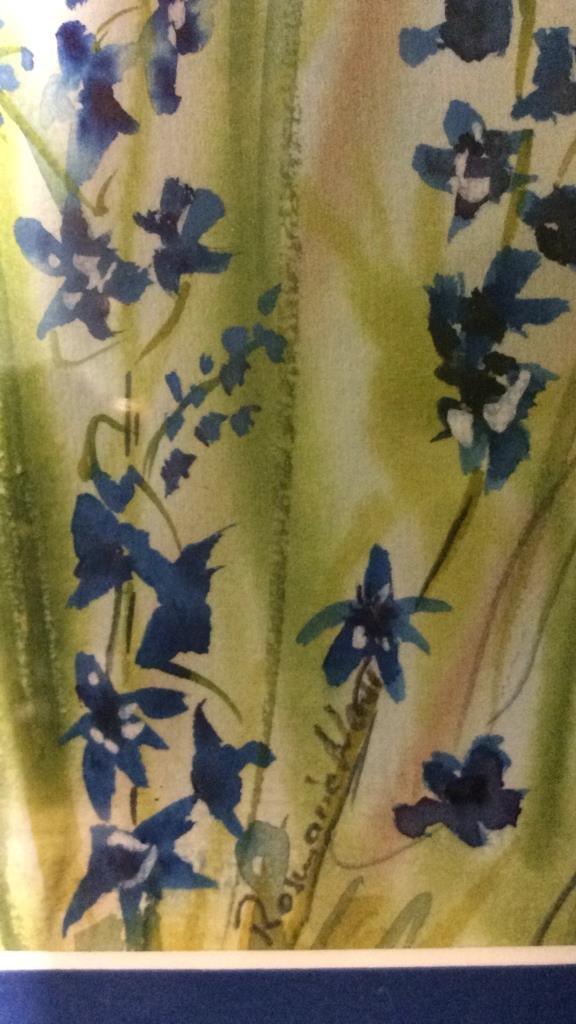 Signed Blue Green Wild Flower Artwork - 3