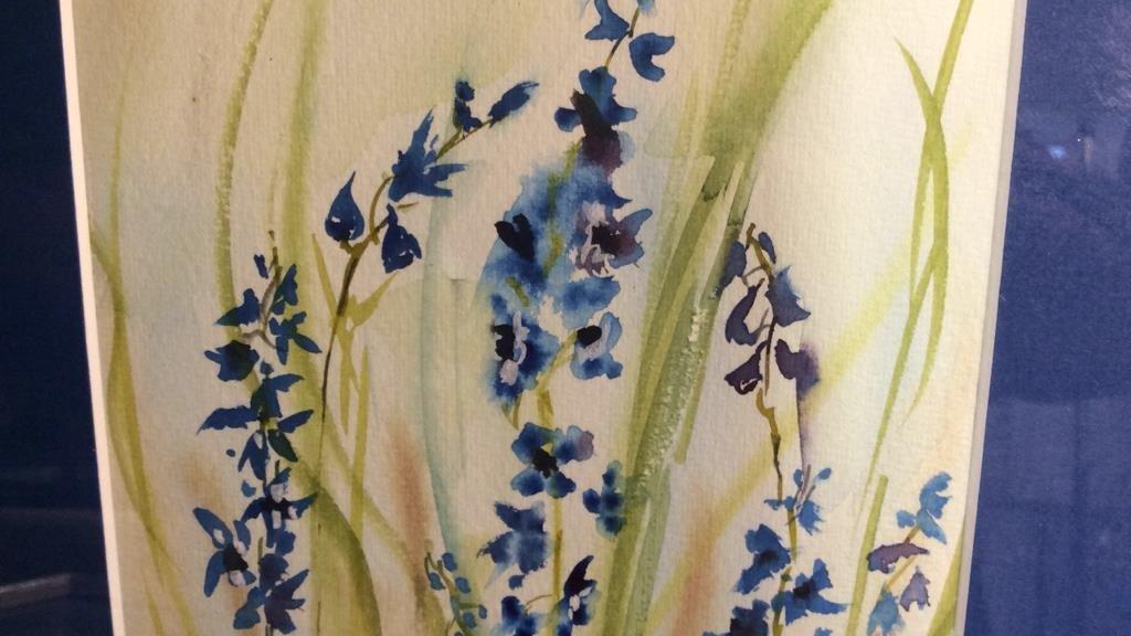 Signed Blue Green Wild Flower Artwork - 4
