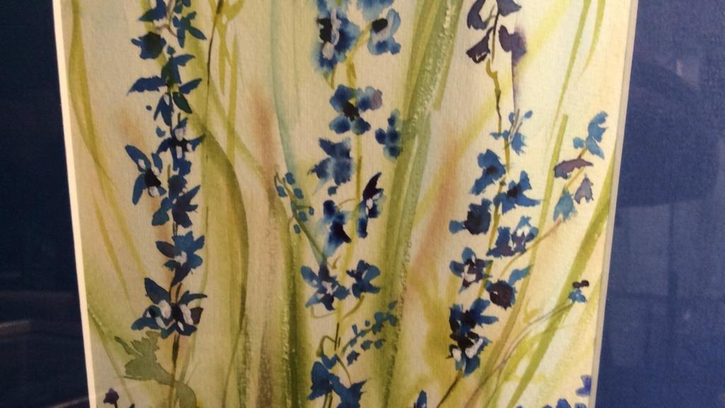 Signed Blue Green Wild Flower Artwork - 5