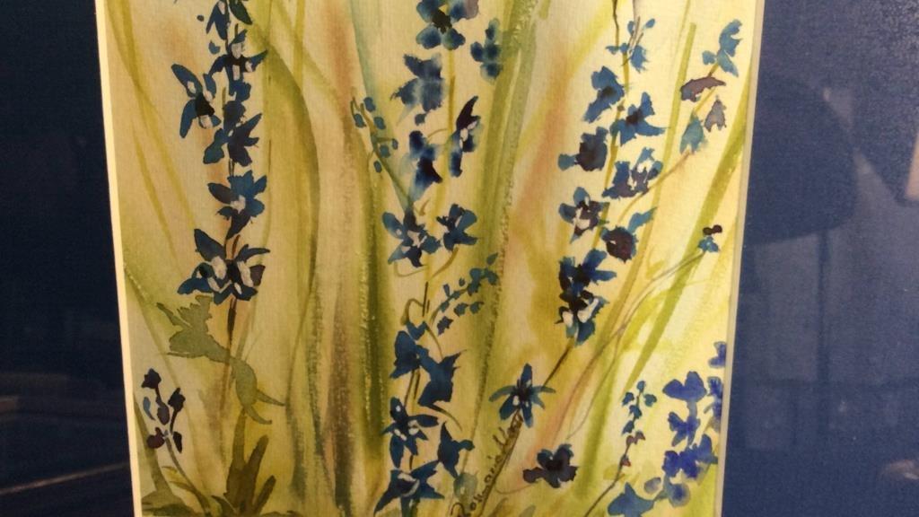 Signed Blue Green Wild Flower Artwork - 6