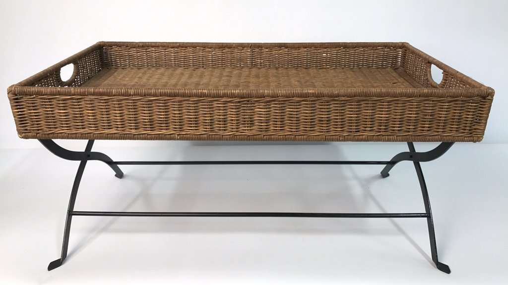 Basket Weave & Wrought Iron Coffee Table