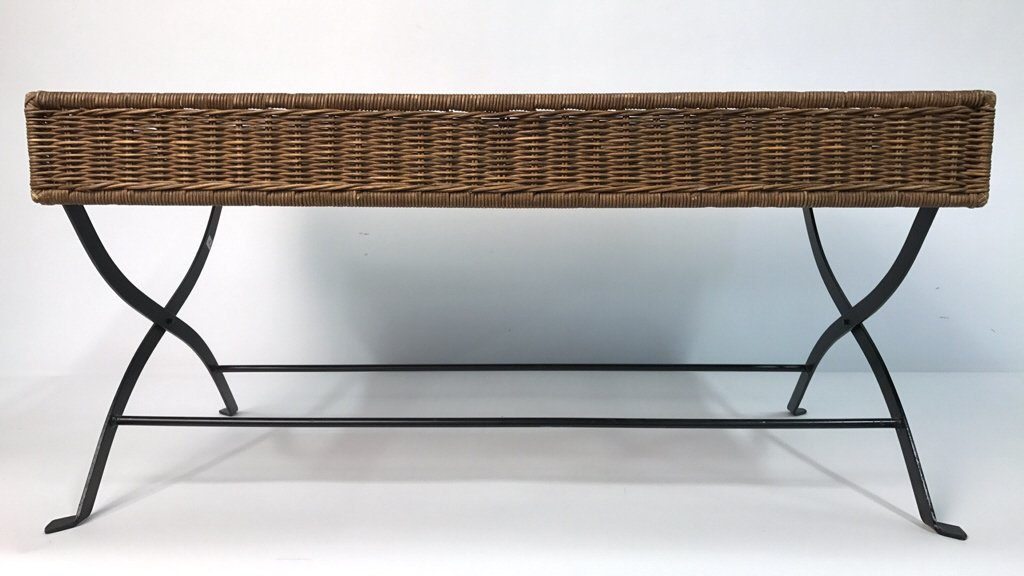 Basket Weave & Wrought Iron Coffee Table - 2