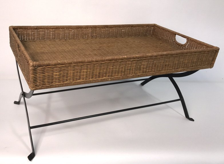 Basket Weave & Wrought Iron Coffee Table - 3