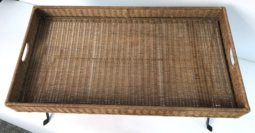 Basket Weave & Wrought Iron Coffee Table - 4