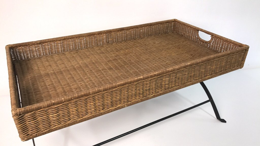 Basket Weave & Wrought Iron Coffee Table - 6