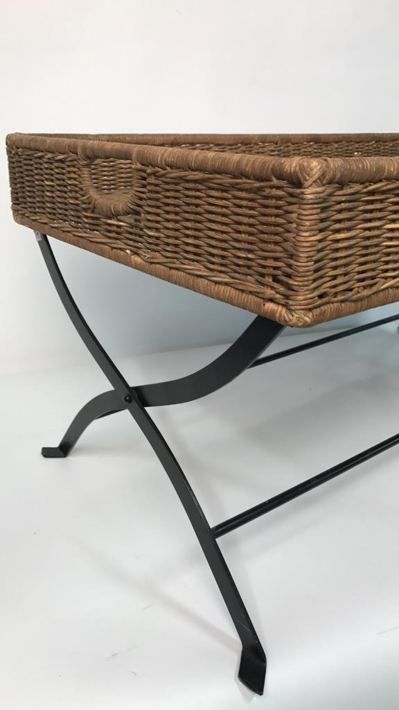 Basket Weave & Wrought Iron Coffee Table - 7