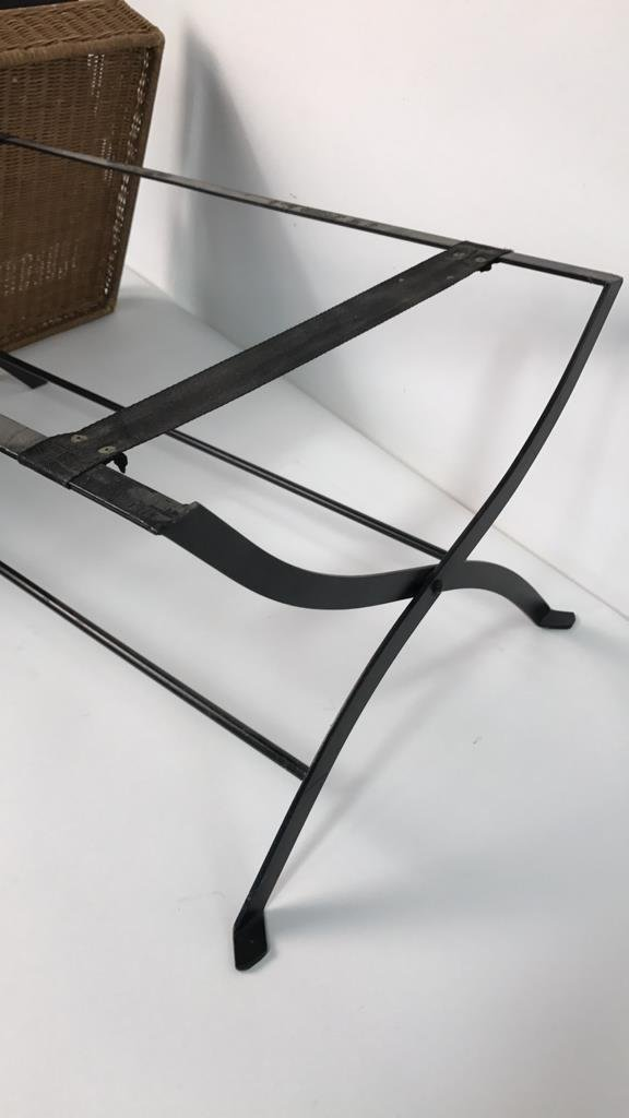 Basket Weave & Wrought Iron Coffee Table - 9
