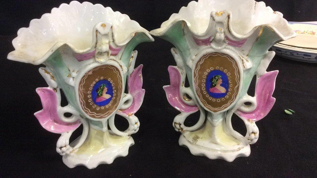 Group Lot Signed Antique Vintage Porcelain - 7