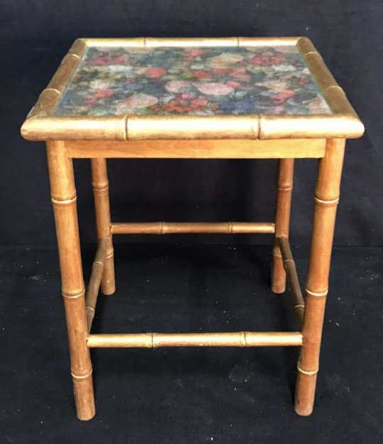 Gold Painted Flower & Glass Top Side Table